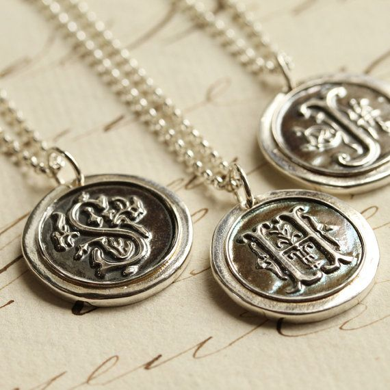 Oxidized Wax Seal Initial Necklace Any Letter Of The By Englady
