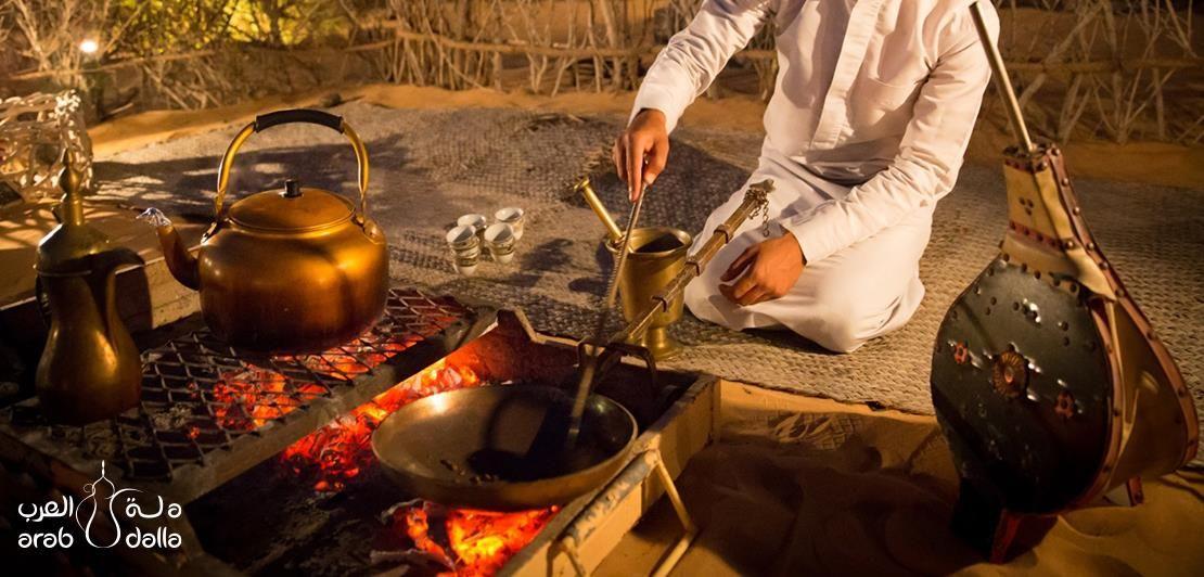 تحضير القهوة العربية بالطريقة التقليدية القديمة Arabic Coffee Outdoor Decor Coffee