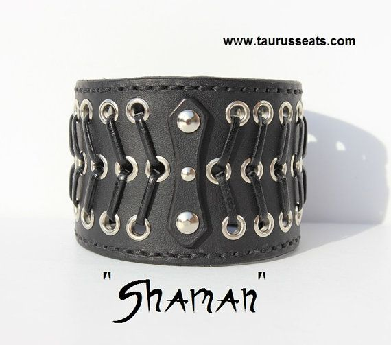 Black Leather Cuff Bracelet, Wristband, Motorcycle Accessory, Unisex with Silver Eyelets & Unique Leather Lacing Style, and Chrome Rivets