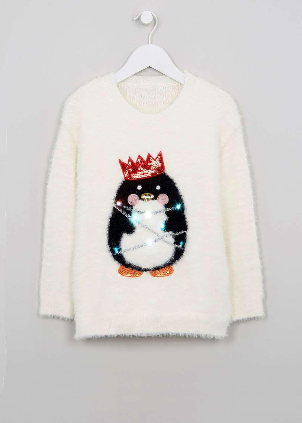 Girls Christmas Light Up Penguin Jumper (3-13yrs) View 1   Christmas ...