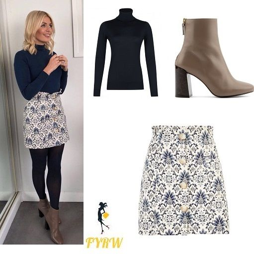 9eff9b0fe7 Holly Willoughby outfit blog blue polo neck white and blue jacquard skirt  brown ankle boots This Morning January 2018