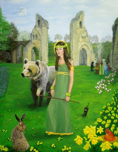 Mother of Fire - Artha by Shirley Wellstead  Honoured at Spring Equinox (20th March).  She is Bear Mother who traditionally gave birth to human beings. The 'Great She Bear' star pattern of the Plough constellation.