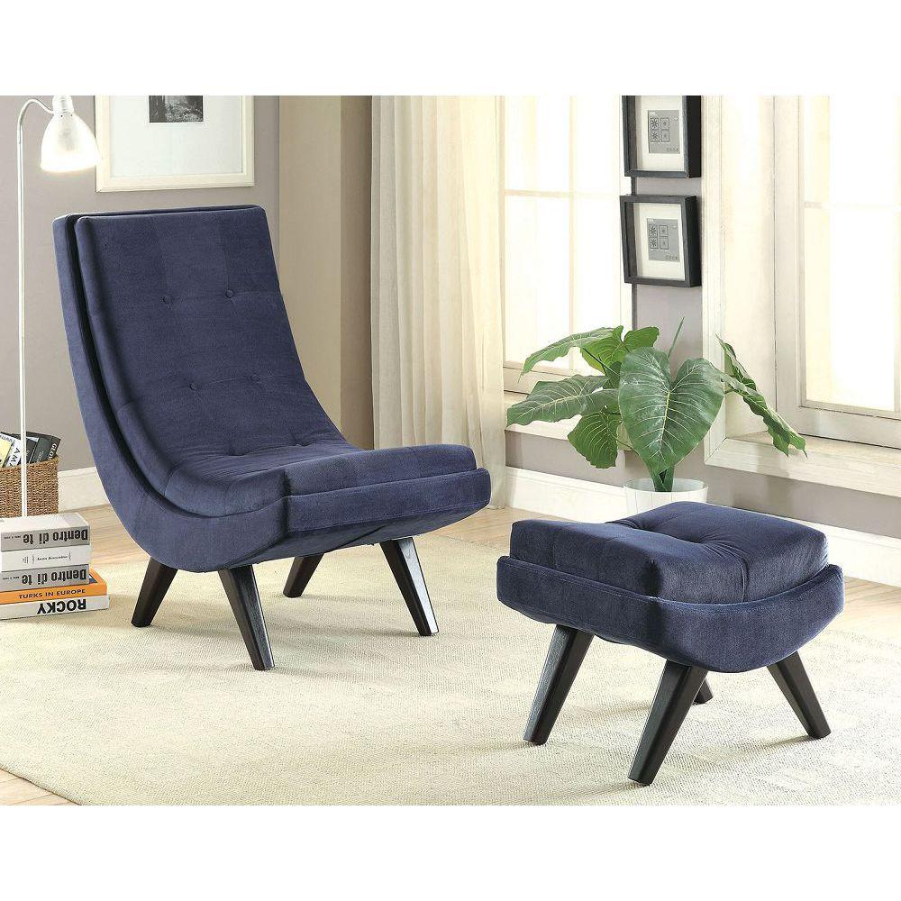 Esmeralda AC6839NV Curved Frame Accent Chair   Fabrics