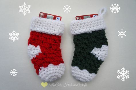 Mini Stockinggift Card Holder Free Crochet Pattern From