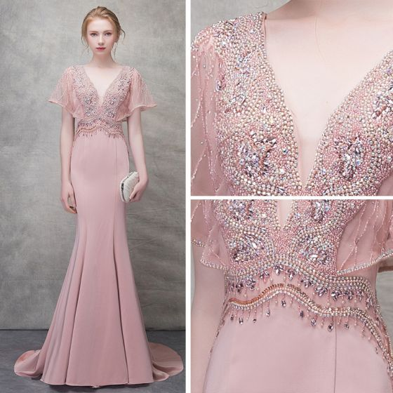 Chic   Beautiful Blushing Pink Evening Dresses 2018 Trumpet   Mermaid  Beading Crystal Pearl V-Neck Backless Short Sleeve Sweep Train Formal  Dresses 8e5aaaa710ba