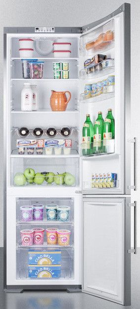 Summit Ffbf181ss 24 Inch Counter Depth Bottom Freezer Refrigerator With 12 5 Cu Ft Capacity Spillproof Gl Shelves Crisper Drawer Open Door Alarm