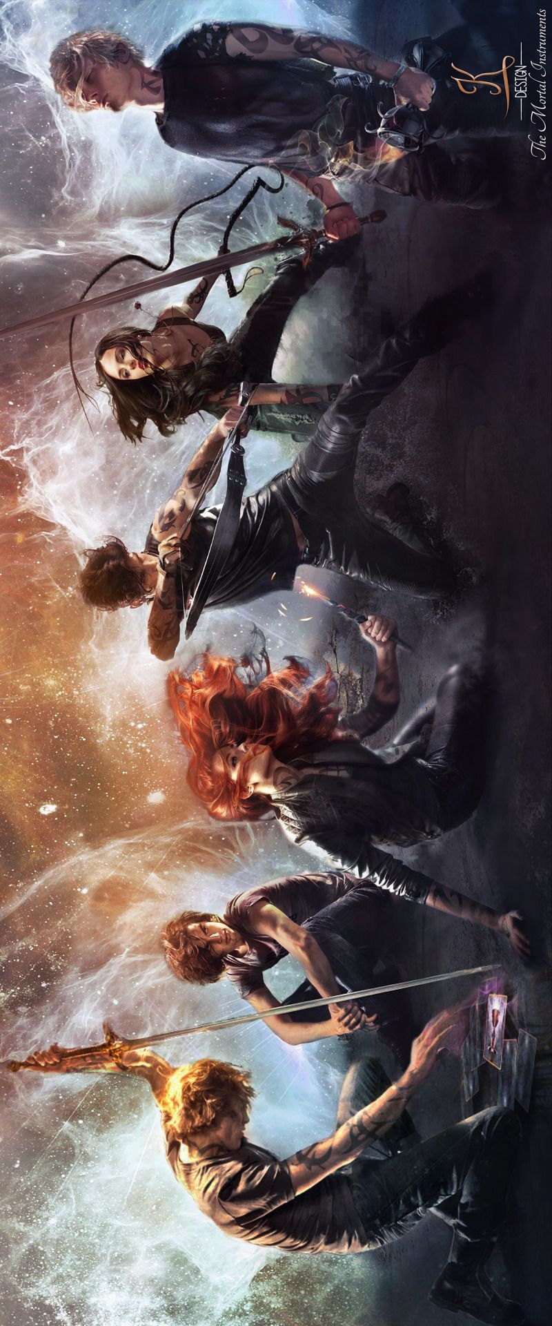 The new TMI covers. simon is just sitting there...well, i think its simon cause hes the only rune-less person :P