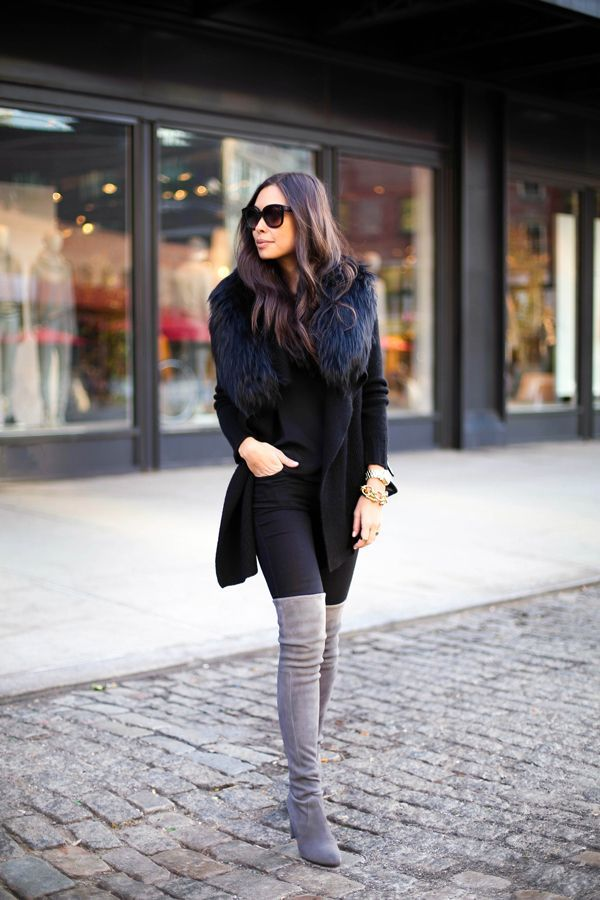 How to Stay Stylish All Winter: INVEST IN NEUTRAL TALL BOOTS – tall boots are all the rage this season so investing in a neutral pair is something that you should definitely look into if you're shopping around for worthwhile investments to add to your wardrobe this winter. These are great for maintaining a balanced and streamlines silhouette despite heavy layering in winter.