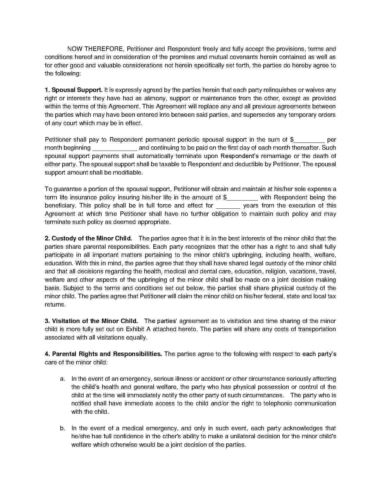 Separation Agreement Separation Agreement Template Separation Agreement Divorce Mediation