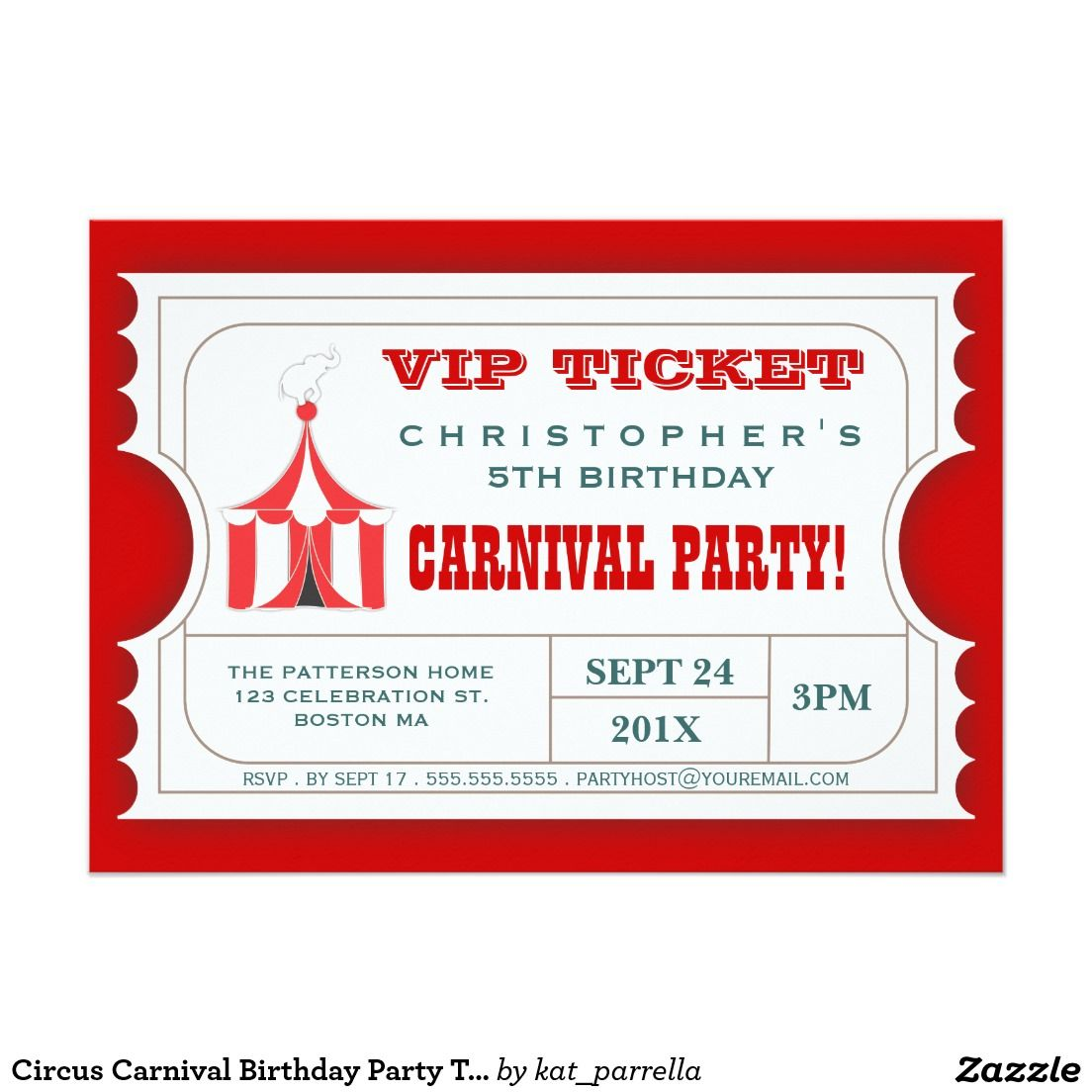 Circus Carnival Birthday Party Ticket Invitation | Party tickets ...