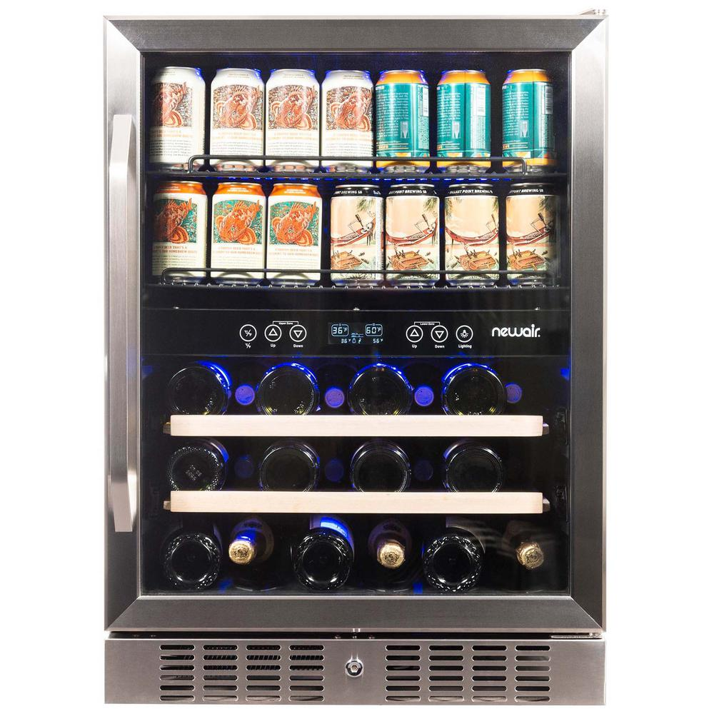 Newair Dual Zone 24 In Built In 20 Bottle And 70 Can Wine And Beverage Cooler With Splitshelf Shelves Stainless Steel Awb 400db The Home Depot In 2020 Beverage Refrigerator Beverage Fridge Built