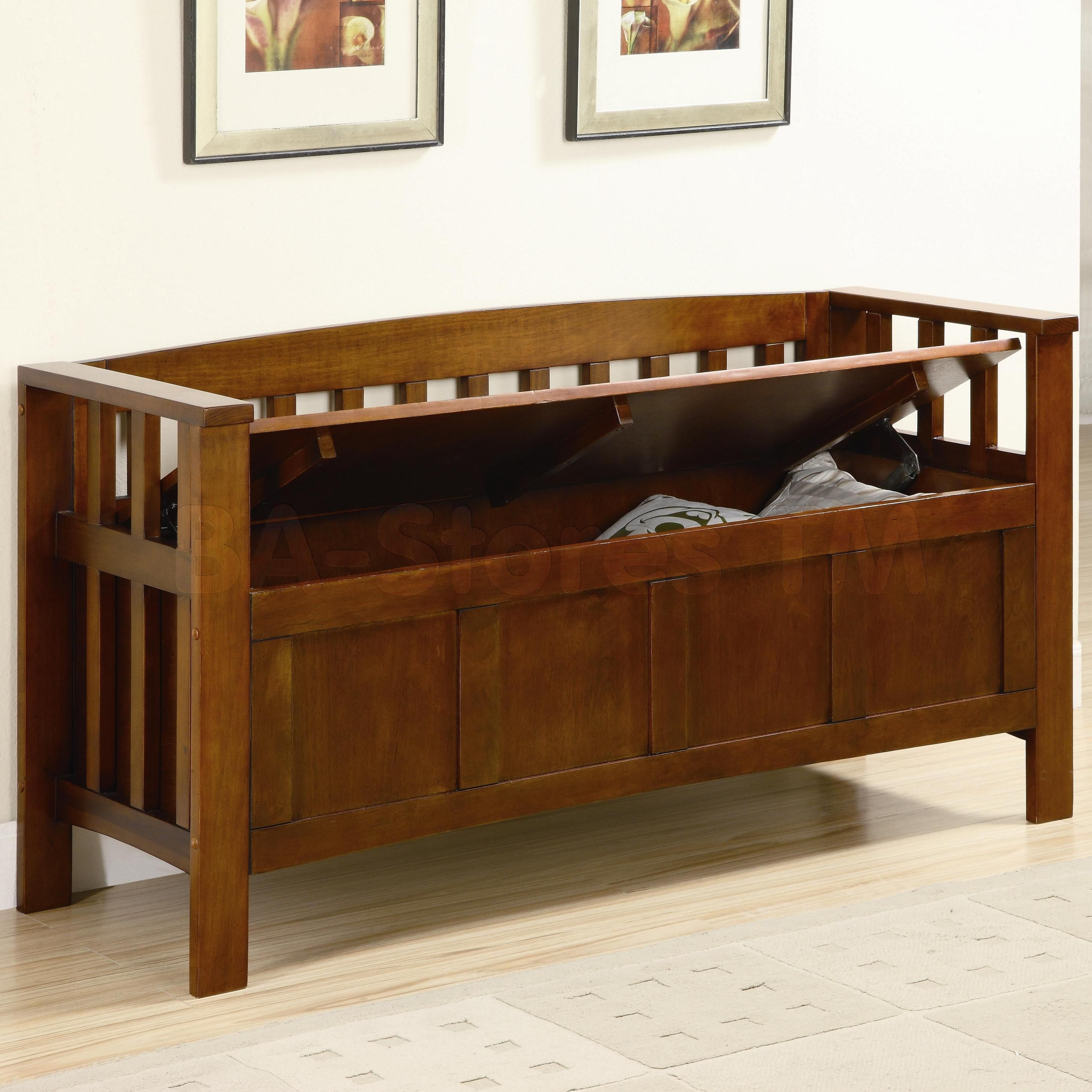 Pine Crest Mission Style Solid Wood Bench w// 3 Storage Drawers Under Seat in Oak
