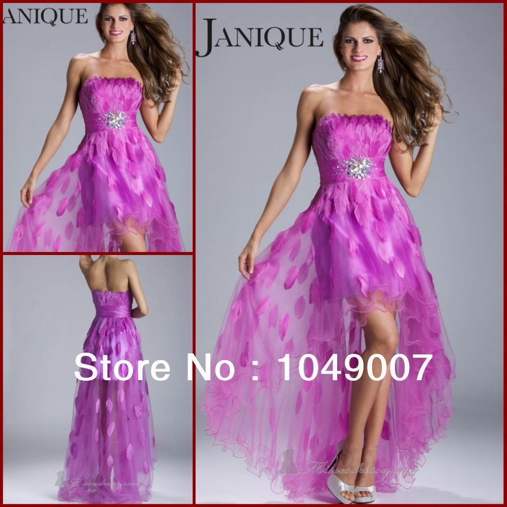 Hot Sale Strapless Crystal Feather Prom Dresses High Low Party Dress ...