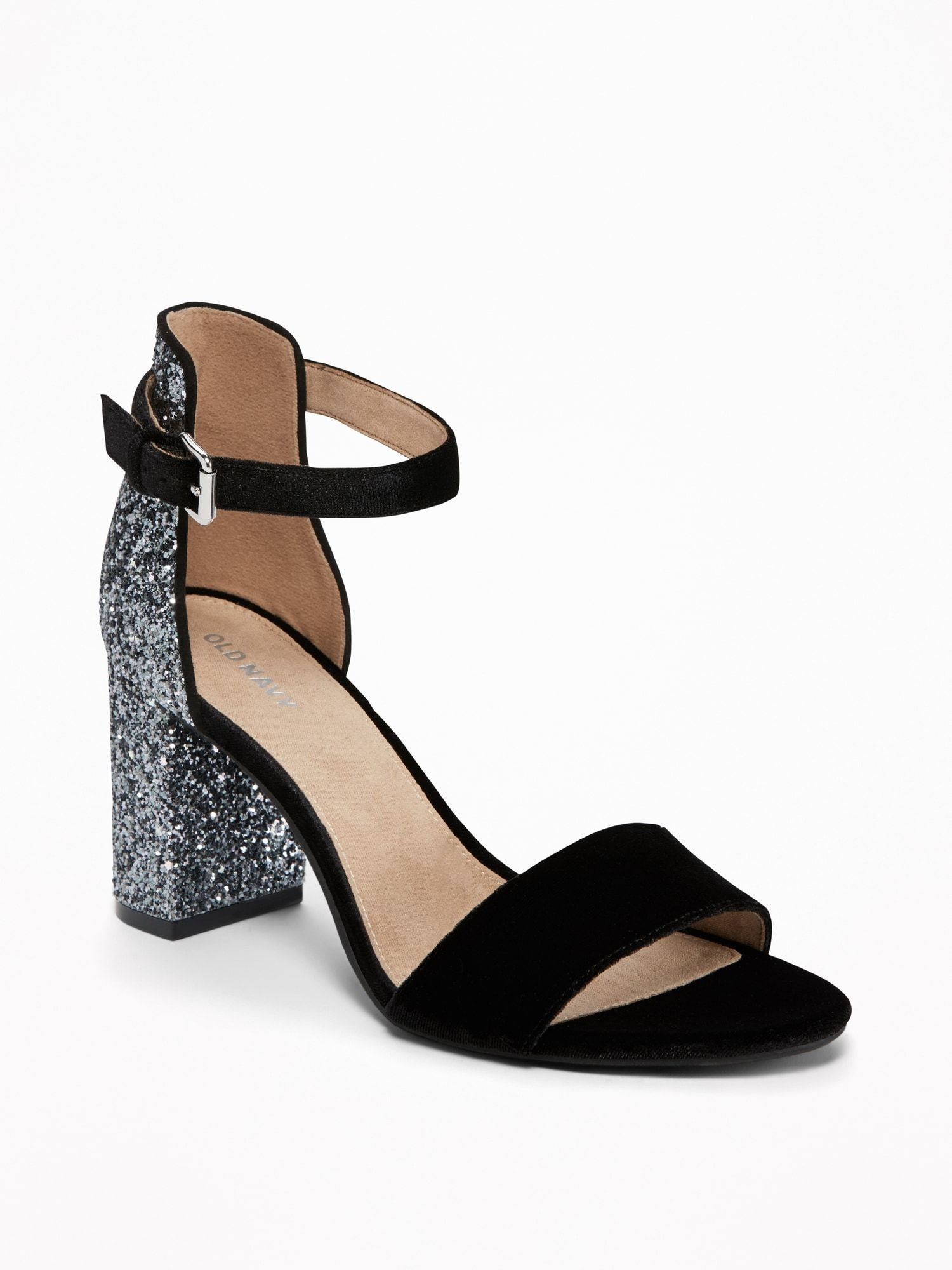 fa6b7342432c Glitter Open-Toe Heeled Sandals for Women