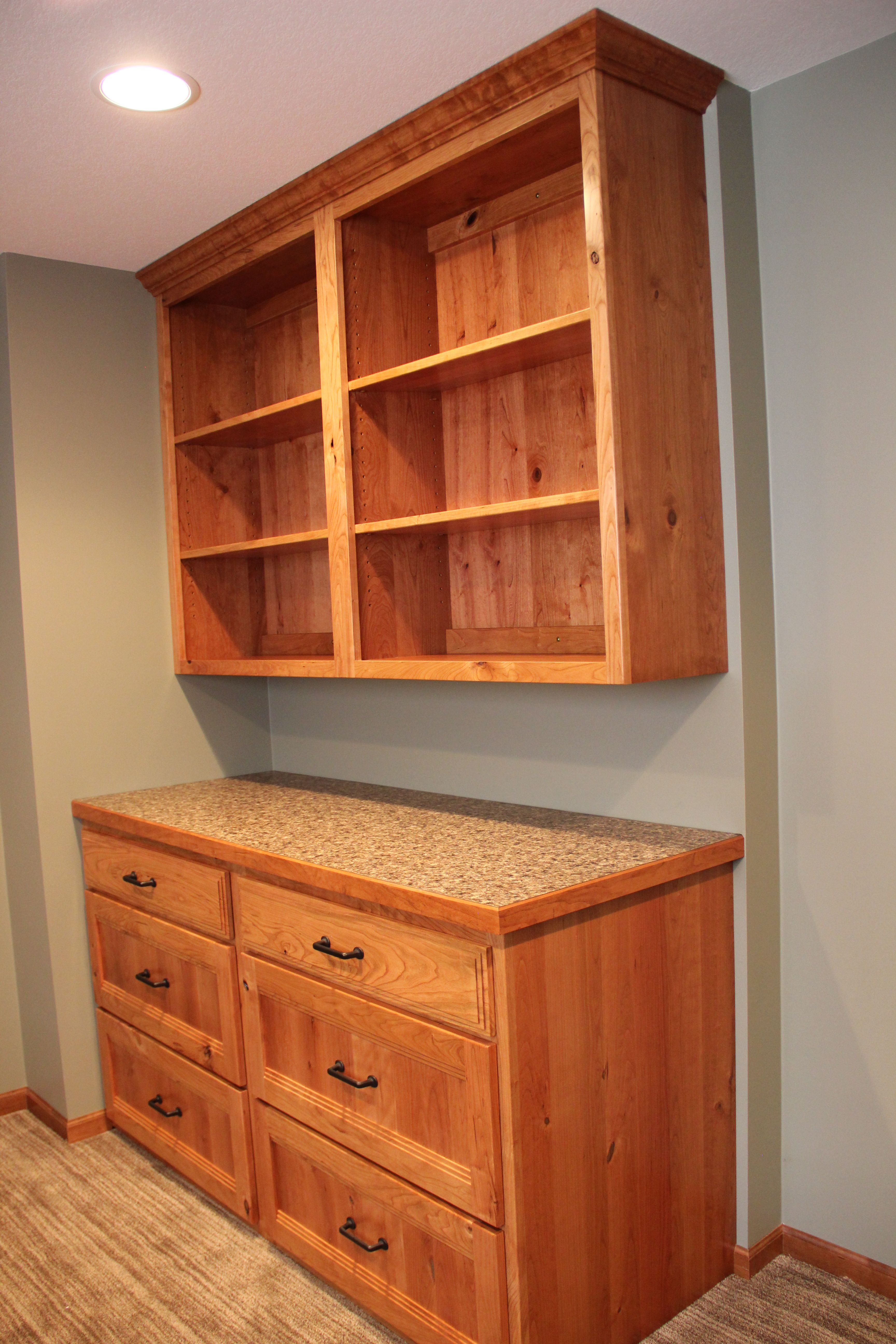 Custom built rustic cherry office cabinets built by Backwoods