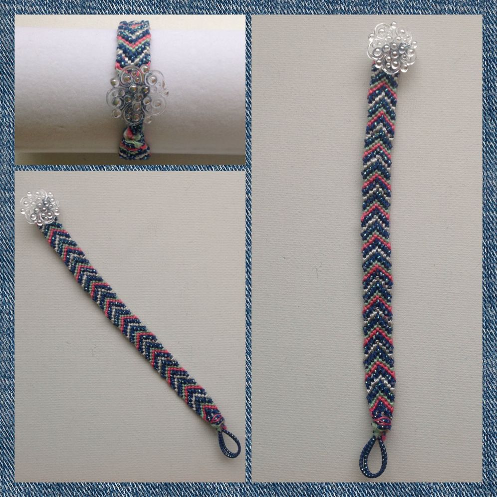 Friendship bracelet with button closure. Easy to put on and take off!