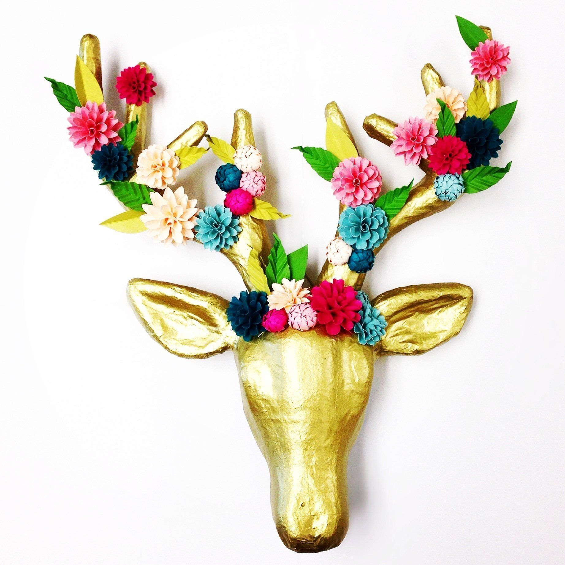 Paper Flower Faux Deer Head | decorable / for the home | Pinterest ...