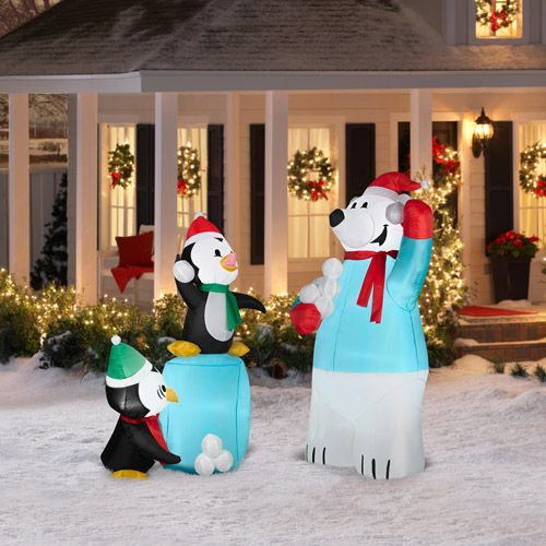 Airblown inflatables 5 5 39 polar bear and penguin snowball for Airblown christmas decoration