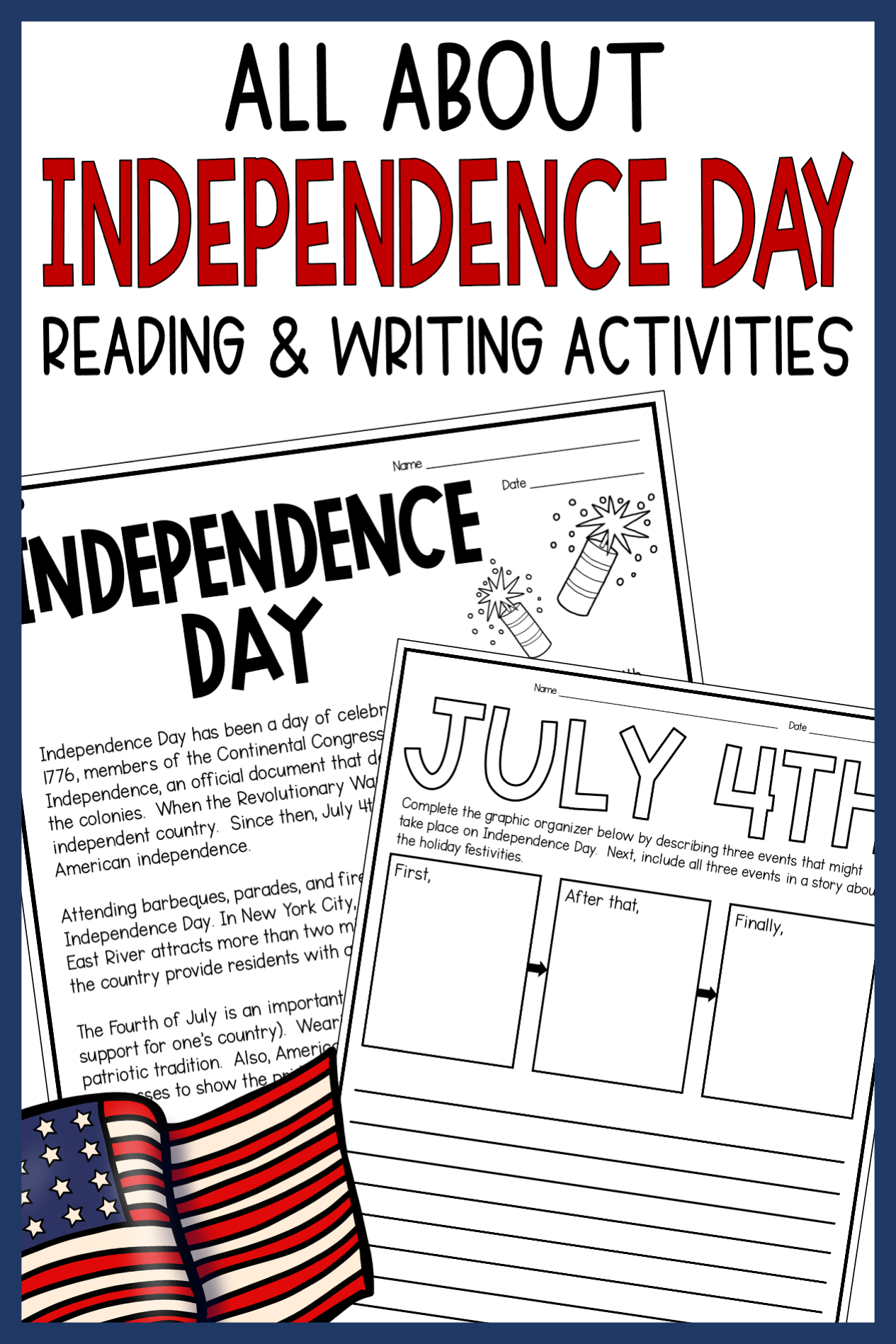 Independence Day Reading And Writing Activities Informational Text In 2021 Writing Activities Reading Comprehension Passages Reading Passages [ 1898 x 1265 Pixel ]