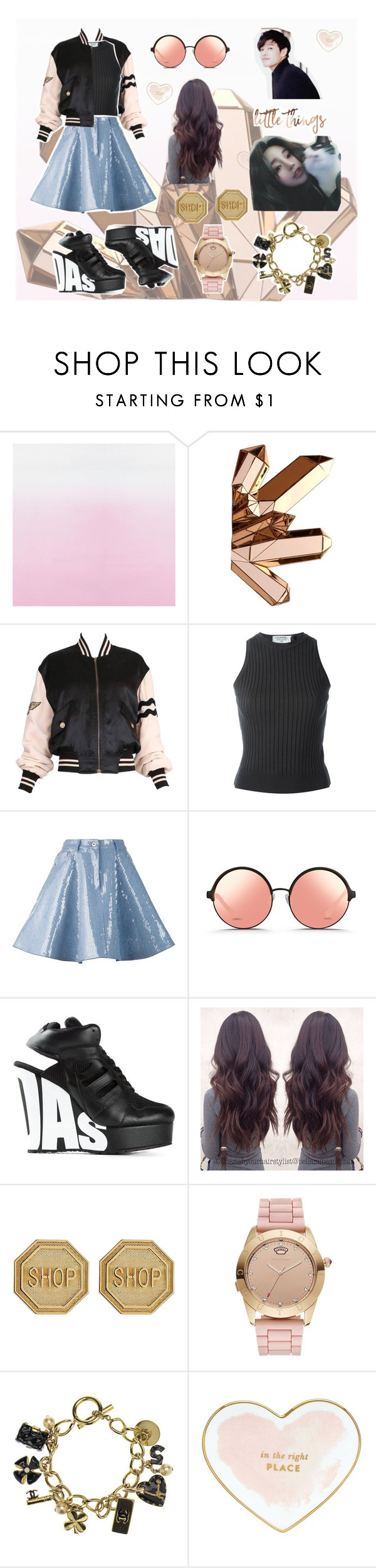 """""""decent meeting  { heart, sarra y. }"""" by raudhahshahrom ❤ liked on Polyvore featuring Moschino, Chanel, Matthew Williamson, adidas Originals, Juicy Couture and Kate Spade"""
