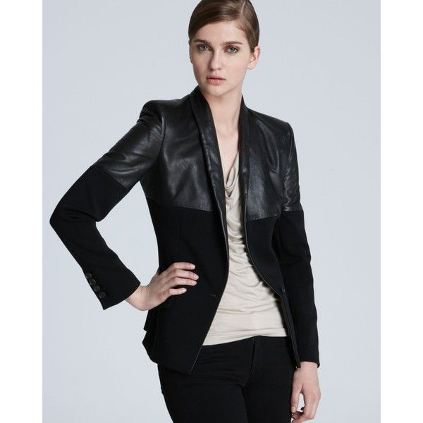 Jean Paul Gaultier Blazer - Leather Contrast ($2,195) ❤ liked on Polyvore