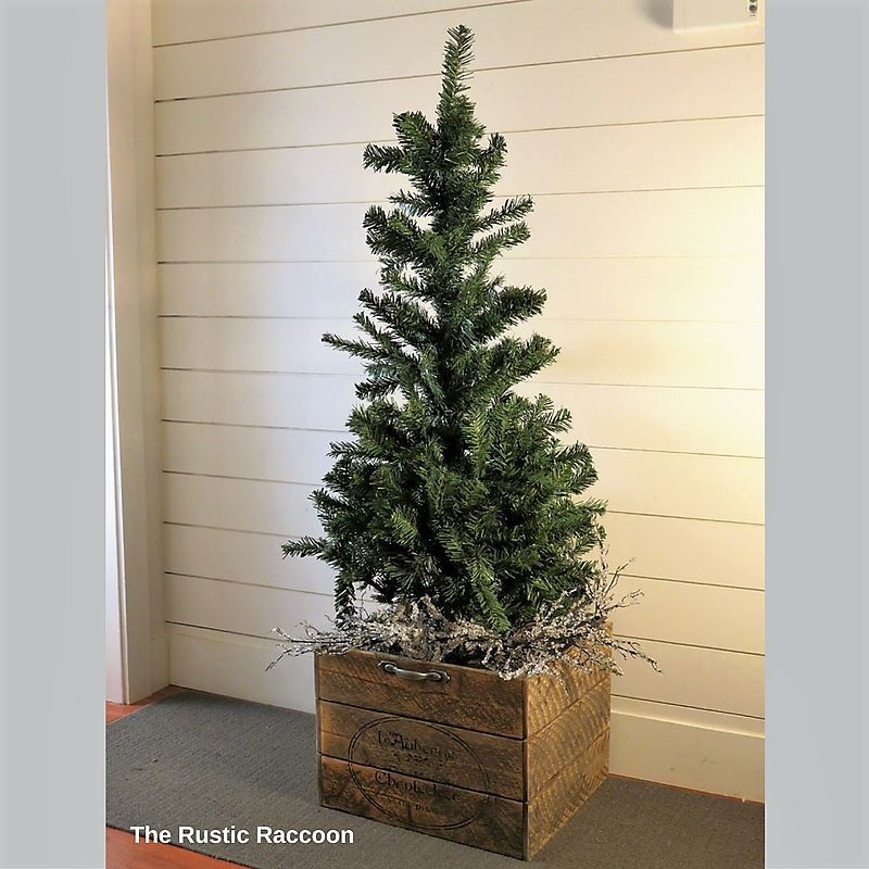An inexpensive 4\u0027 artificial tree gets some loving with a vintage