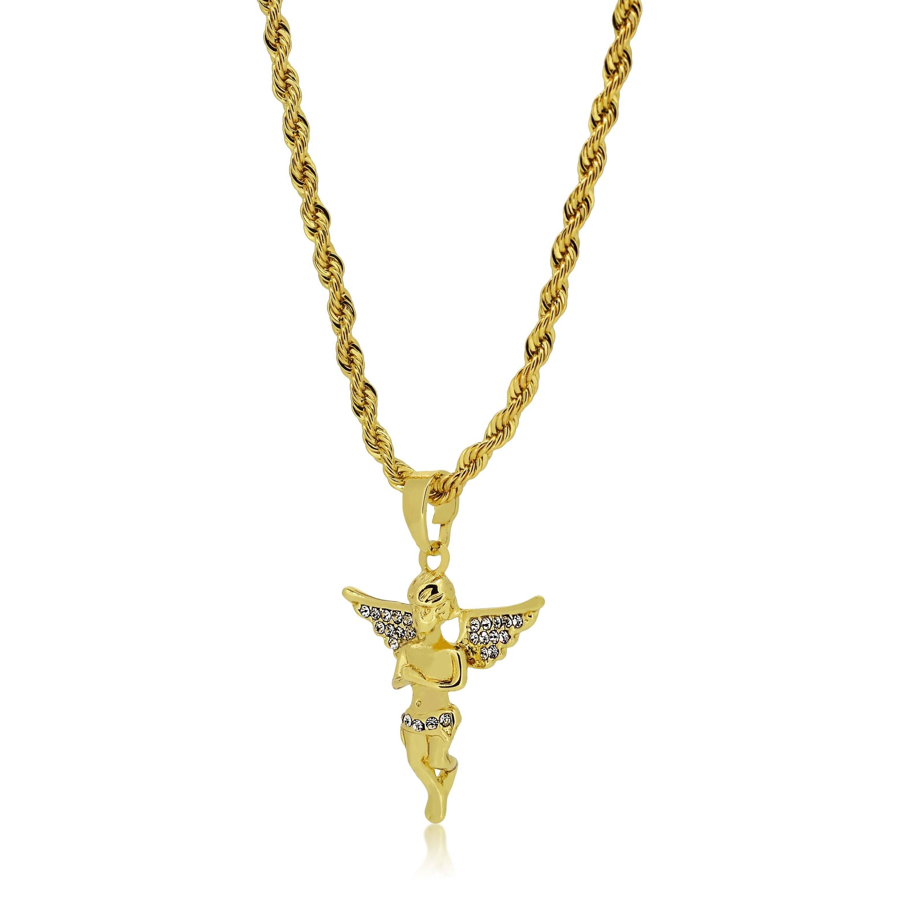 24mm Silver Yellow Plated Angel Pendant