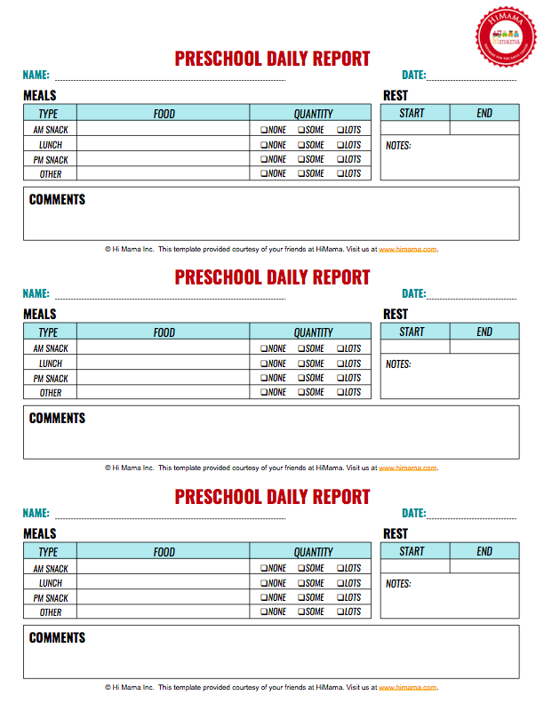 Preschool Daily Report 3 Per Page Infant Toddler