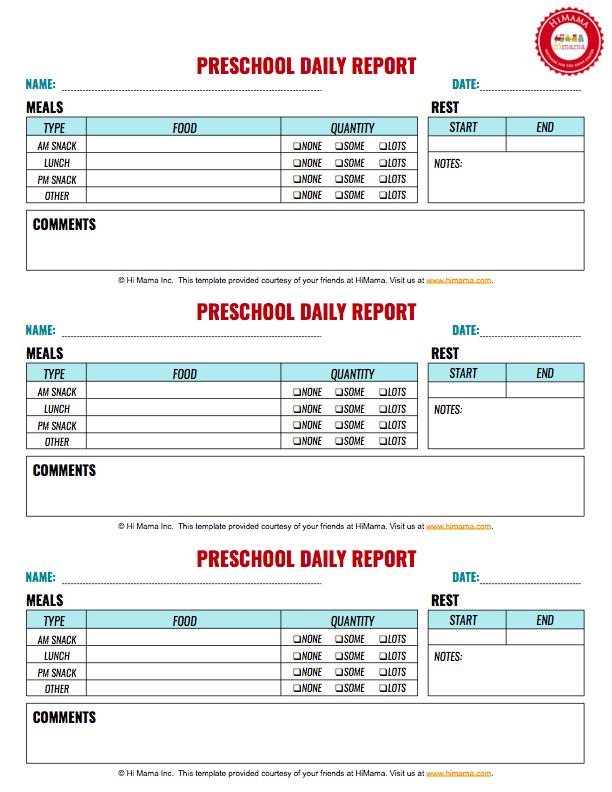 Preschool Daily Report 3 Per Page Preschool Daily Sheet