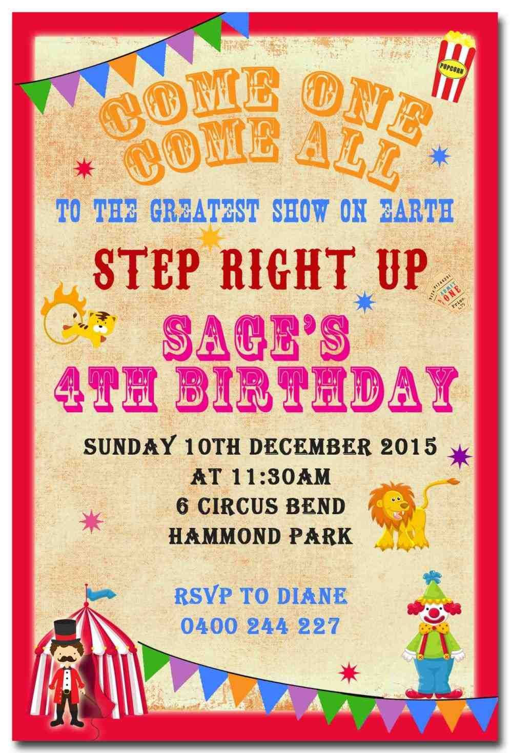 vintage carnival birthday party. 10th birthday party invitations ...
