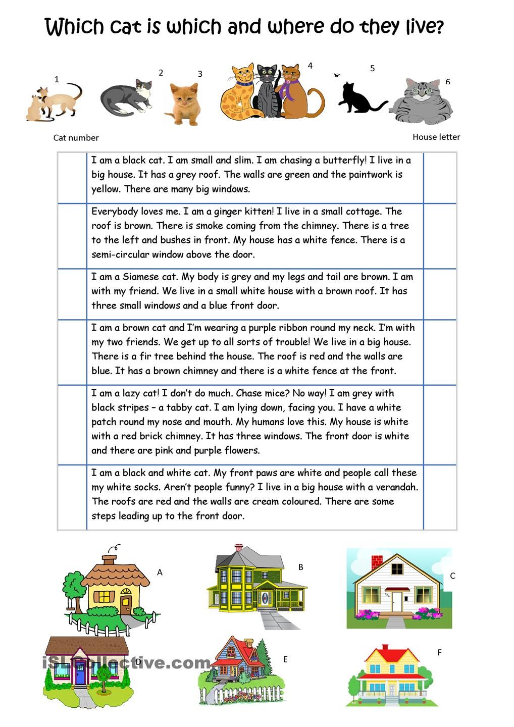 describe the cats and their houses esl worksheets of the day teaching english learn english. Black Bedroom Furniture Sets. Home Design Ideas
