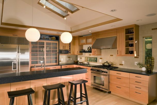 Black Kitchen Counter And Natural Kitchen Cabinet With Shoji Style