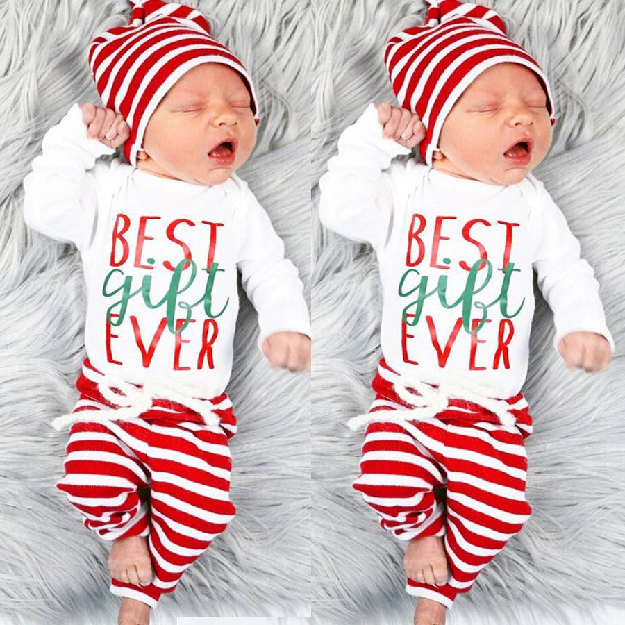 dc031e51a US Stock Christmas Set Newborn Baby Girl Boy Top Romper+Pants Hat Outfit  Clothes | eBay