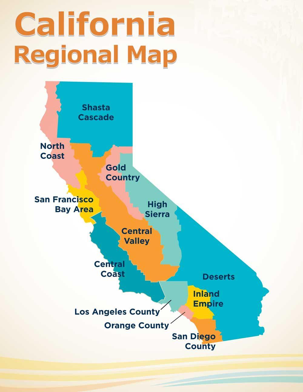 Image result for california regional map | California Regions ... on