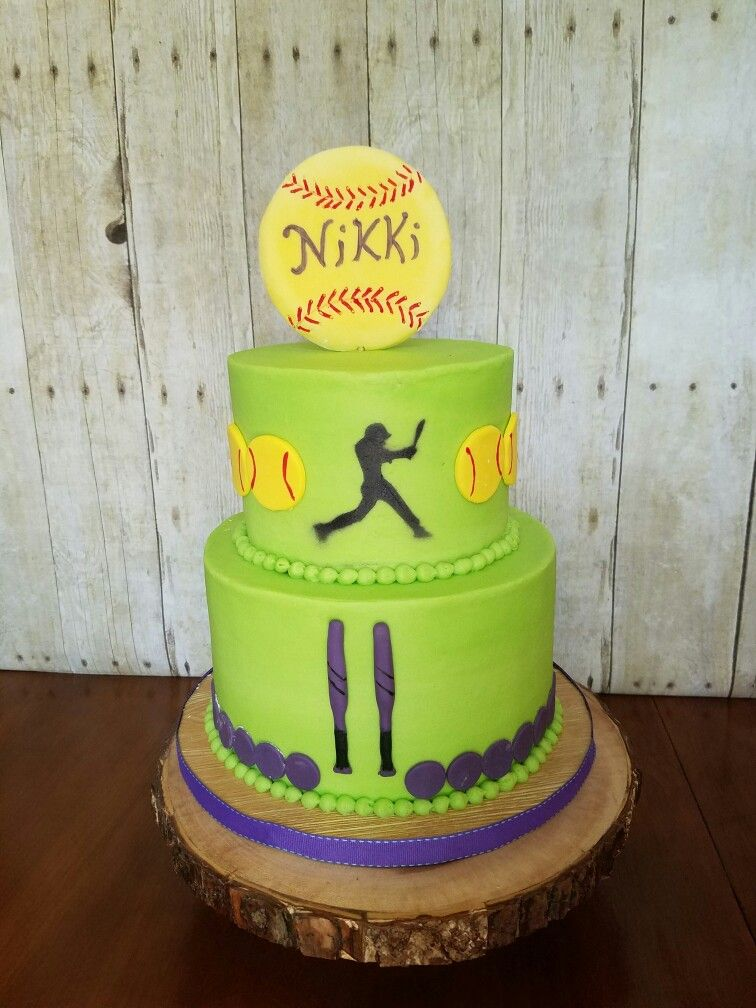 Marvelous Softball Birthday Cake Lime Green Buttercream With Images Personalised Birthday Cards Paralily Jamesorg