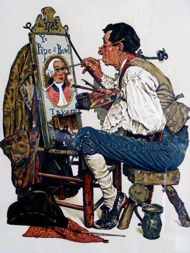 """""""YE PIPE N BOWL 1976"""" by Norman Rockwell"""