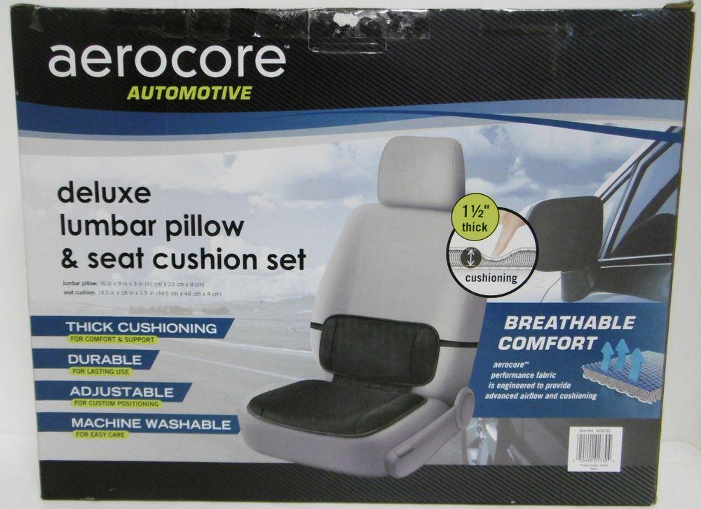 Aerocore Automotive Lumbar Pillow Seat Cushion Set Breathable