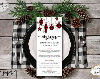 Instant Wedding Menu Template Christmas Dinner Printable Holiday Fl Red Plaid Editable Card 0661