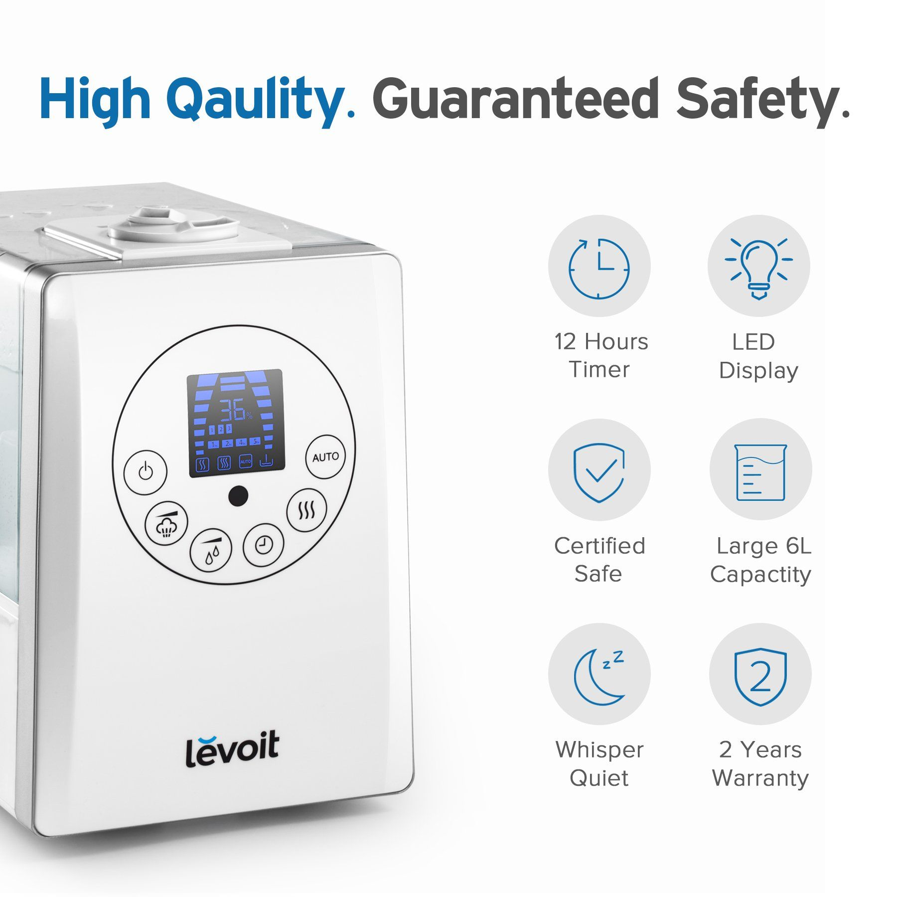 Levoit Humidifiers 6l Warm And Cool Mist Ultrasonic Humidifier For Bedroom With Remote And Humidity Monitor Vapor In 2020 Humidifier Air Humidifier Aroma Oil Diffusers