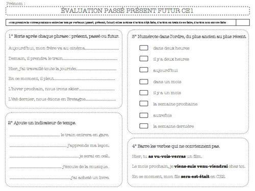 Evaluation Grammaire Passe Present Futur Ce1 Passe Present Futur Ce1 Evaluation Ce1