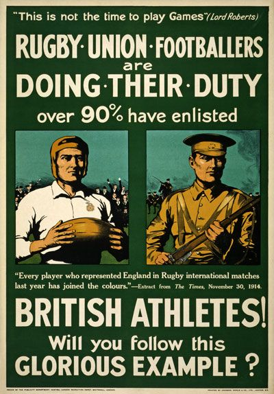 Details about WA2 Vintage WWI British Rugby Football Athletes ...