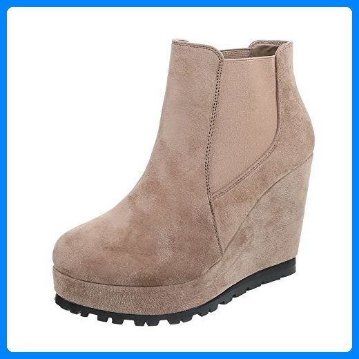 Keilstiefeletten Damen Schuhe Plateau Keilabsatz Wedge
