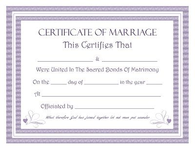 Download Blank Marriage Certificates | Printable Wedding