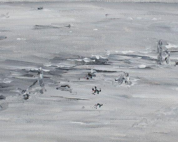Schilderij acrylverf op canvas De Zee acryl zwart wit door MijnPopje, €15,00