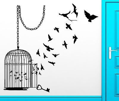 Wall Sticker Birds Escape Cage Freedom Bird Cool Decor For Bedroom Unique Gift (z2517)   Wall stickers birds, Freedom bird, Large bird cages