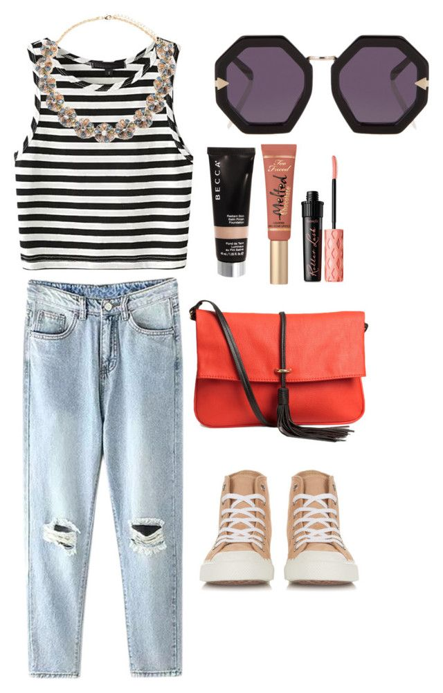 """""""Untitled #80"""" by averyhumeniuk on Polyvore featuring Karen Walker, H&M, Forever 21, Becca, Benefit and Chloé"""