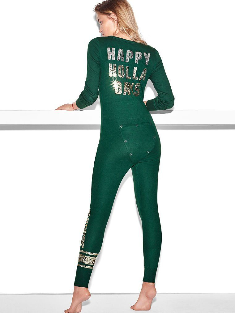 Amazon.com: Victoria's Secret Long Jane Onesie Pajama, Green Sequin Bling Small: Everything Else