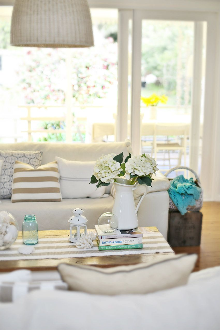 Beach Cottage Coastal Vintage Style Nautical Stripes Wicker Pendant Lamp Accessories White Sofa Flowers X