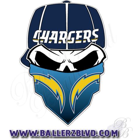 San Diego Chargers Skull With Bandana Nfl Football Sticker Ballerz Blvd All Starz Ejercicios