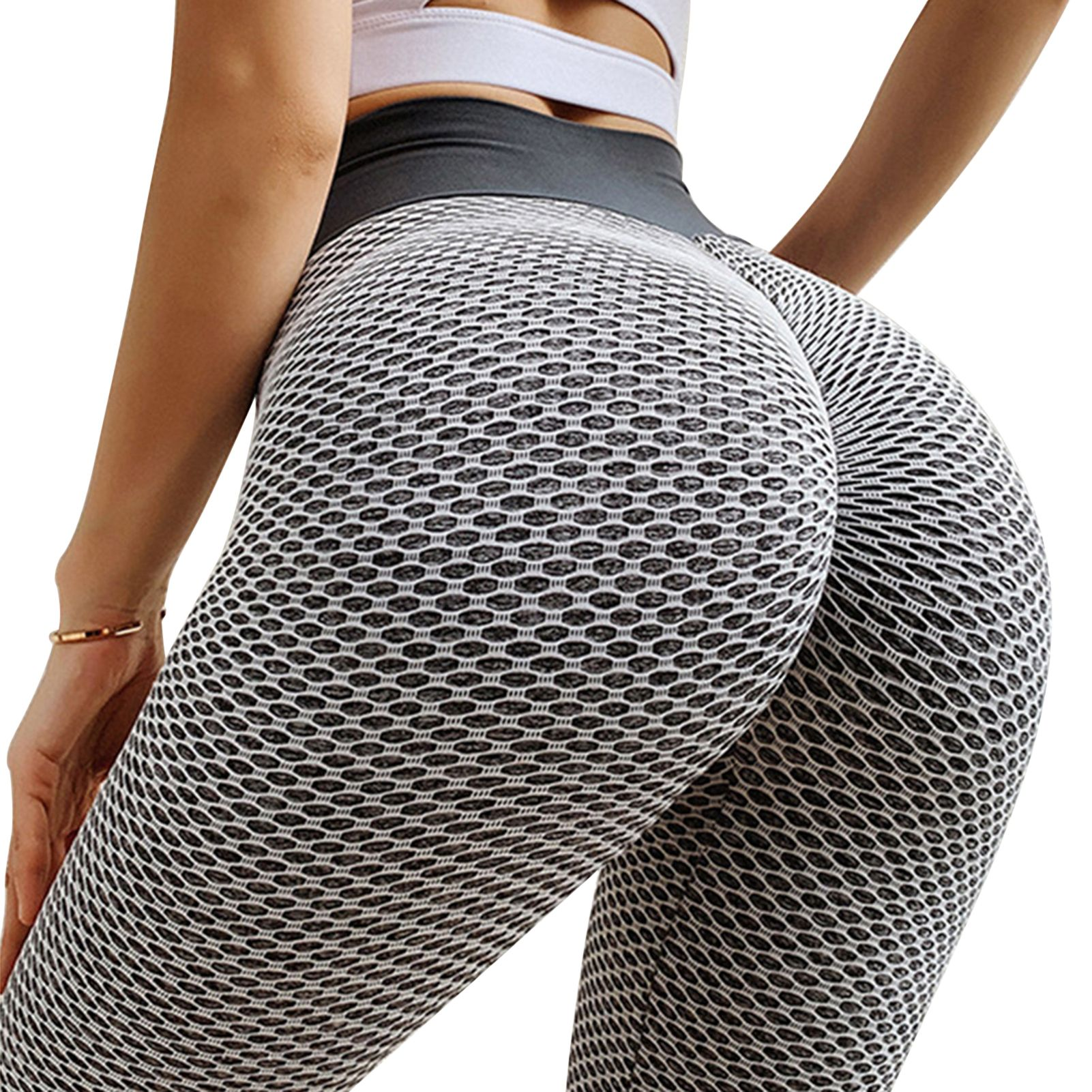 Workout Leggings Breathable High Elasticity Mesh Stretchy Slim Yoga Pants for Home - grey, xl Description: With fashionable mesh design, the yoga